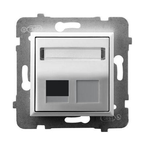 Ospel Obudowa gniazda pojedynczego typu keystone skośna gpk-1us/p/00 biała aria
