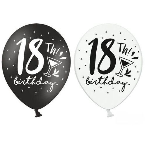 Balon biały/czarny 18th birthday 30cm 1szt marki Twojestroje.pl