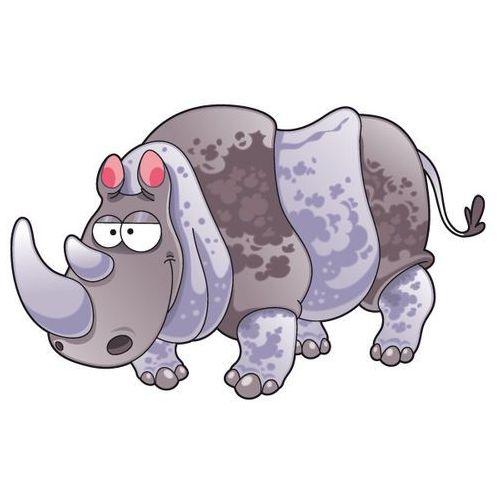 Nosorożec - drukowana naklejka wycięta po obrysie