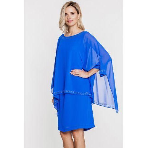 Niebieska sukienka z szyfonową warstwą - Vito Vergelis, kolor niebieski