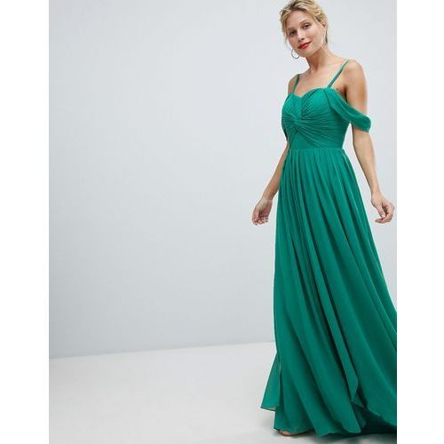 floaty maxi dress with cold shoulder - green, Y.a.s, 34-42
