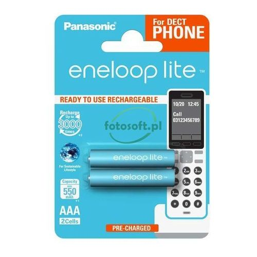 Akumulator eneloop lite r03 aaa 550mah 2szt. marki Panasonic