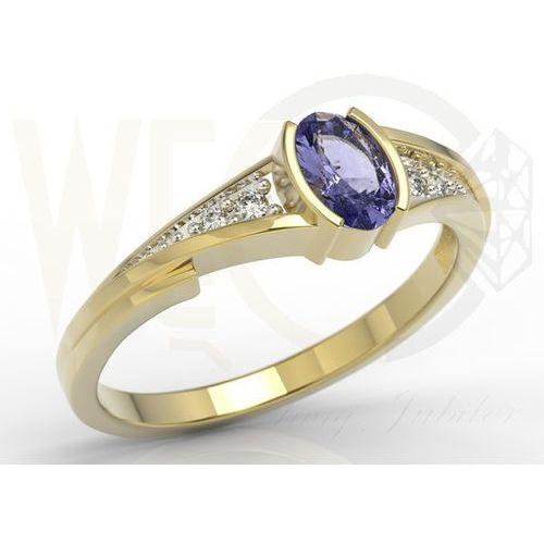 Węc - twój jubiler Pierścionek zaręczynowy z żółtego złota z tanzanitem i diamentami jp-2705z-r