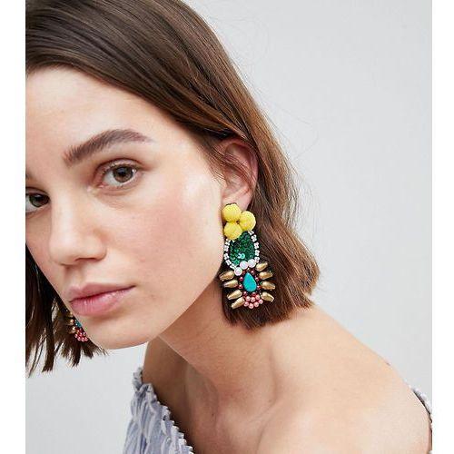 Glamorous beaded statement earrings - multi