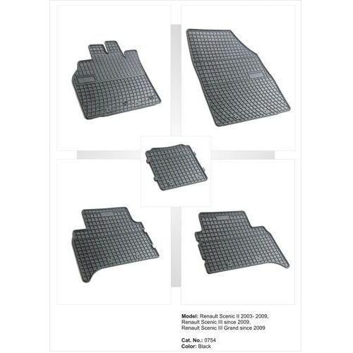 Dywaniki gumowe czarne z kompletem stoperów - Renault Grand Scenic (II) od 2009, 5907377540854