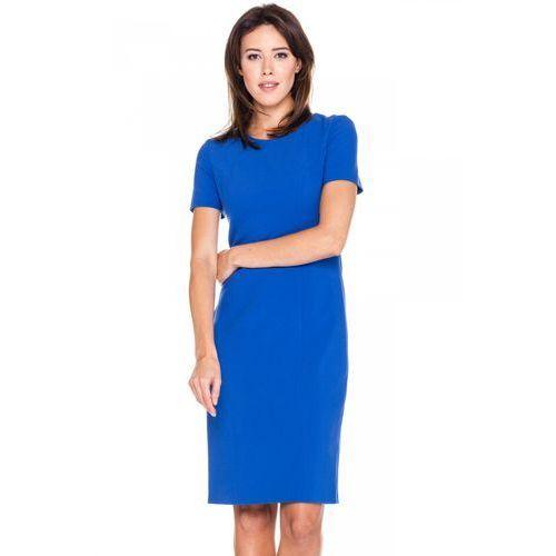 Klasyczna sukienka w kolorze niebieskim - Bialcon, 1 rozmiar
