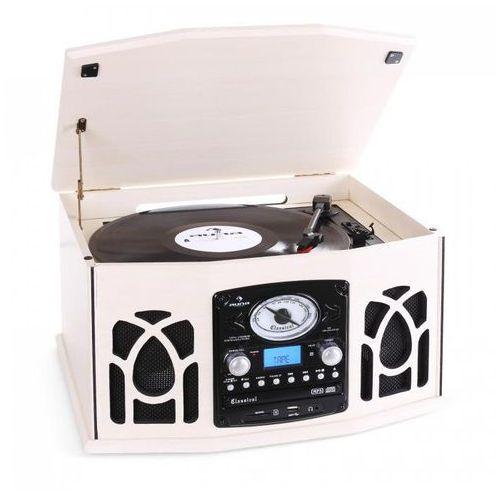 Auna Wieża stereo gramofon nr-620 nagrywanie mp3 kremowa obudowa drewniana (4260365791210)