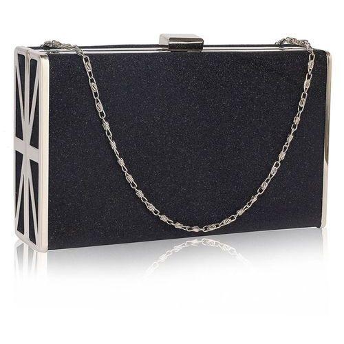 Wielka brytania Czarna torebka wizytowa szkatułka z metalową ramą - czarny