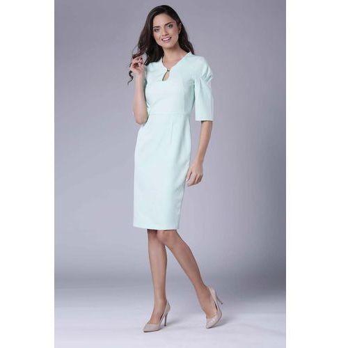 862fb6bb84 Suknie i sukienki · Miętowa Elegancka Dopasowana Sukienka z Drapowaniem na  Rękawie
