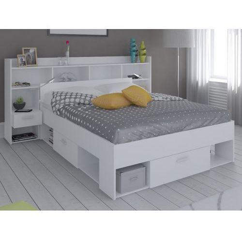 Łóżko + wezgłowie KYLIAN z półkami - modułowe 140 × 190 lub 140 × 200 cm - Biały