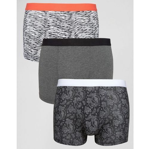 trunks in black with paisley print 3 pack - black, marki New look
