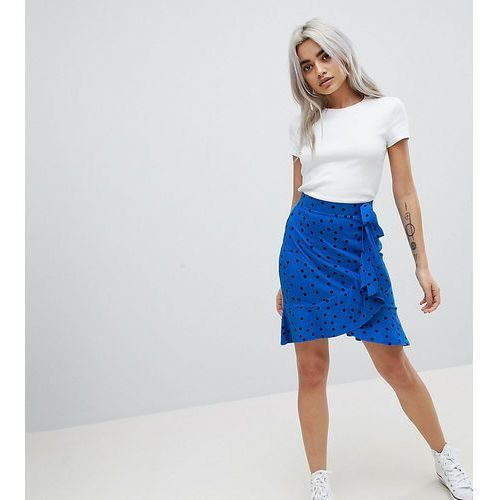 ASOS PETITE Mini Wrap Skirt in Polka Dot Print - Blue