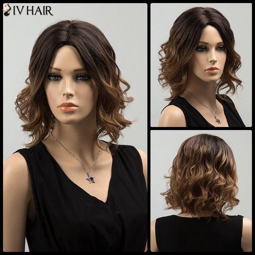Medium Shaggy Colormix Centre Parting Wavy Siv Human Hair Wig