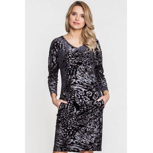 Welurowa sukienka w szary wzór - Vito Vergelis