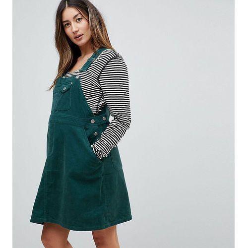 Asos design maternity cord dungaree dress in emerald green - green, Asos maternity