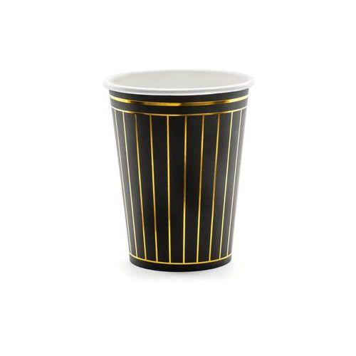 Kubeczki czarne w złote paski - 260 ml - 6 szt. (5900779112995)