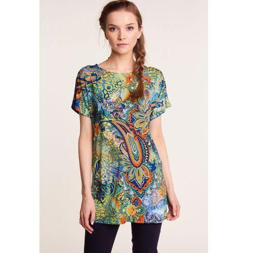 Wzorzysta bluzka z krótkim rękawem, kolor niebieski