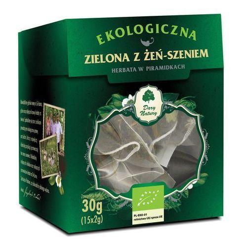 HERBATA ZIELONA Z ŻEŃ-SZENIEM PIRAMIDKI BIO (15 x 2 g) - DARY NATURY (5902581617491)
