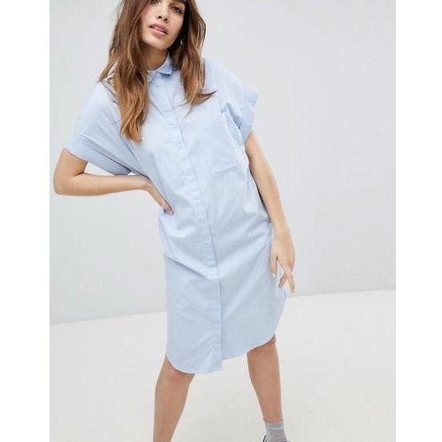 Monki Short Sleeve Chambray Smock Dress - Blue, w 6 rozmiarach