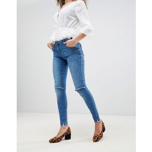 Parisian frayed hem skinny jeans with ripped knee - Blue, jeans