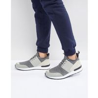 River island mixed fabric trainers in grey - grey