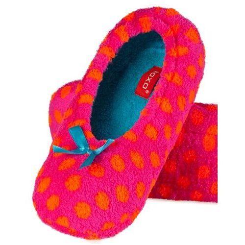 Kapcie balerinki damskie Soxo neonki różowo-pomarańczowe