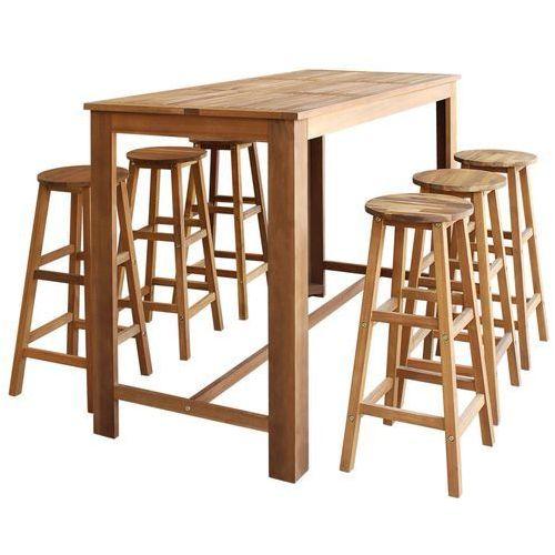 stolik barowy i taborety, 7 elementów drewno akacjowe marki Vidaxl