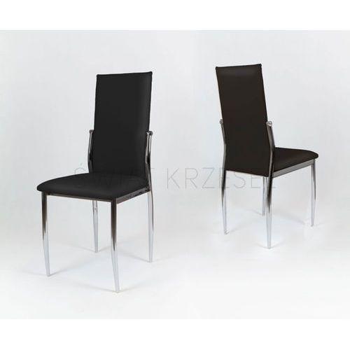 Sk design  ks004 czarne krzesło z ekoskóry na stelażu chromowanym - czarny