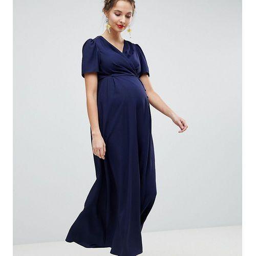 ASOS DESIGN Maternity Button Through Maxi Tea Dress - Navy