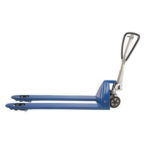Paletowy wózek podnośny, bardzo długi, dł. wideł 1800 mm, niebieski. Tłok chromo