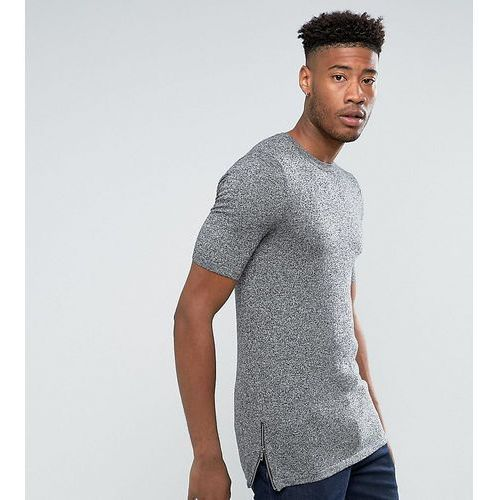 ASOS TALL Longline T-Shirt with Side Zips in Muscle Fit in Black and White Twist - Grey, kolor szary