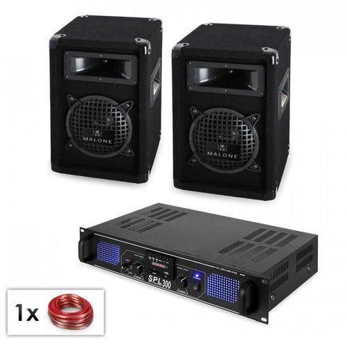 """PA """"Zestaw Malone SPL MP3"""" - Para kolumn głośnikowych 16,5 cm i wymacniacz 300W"""