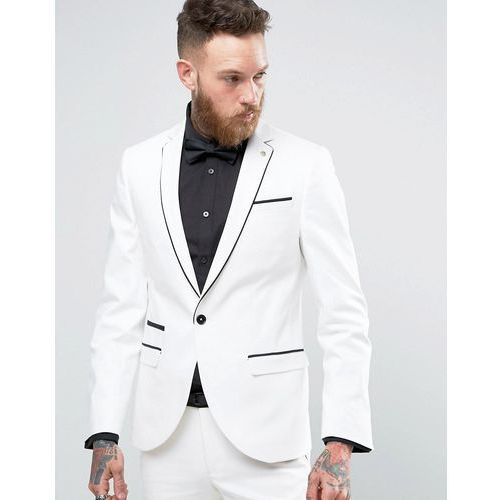 Noose & Monkey Super Skinny Suit Jacket With Piping - White