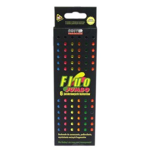 Kredki ołówkowe 6 kolorów fluo Noster Jumbo + zakładka do książki GRATIS (5907078124322)