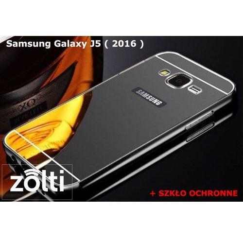 Zestaw | Mirror Bumper Metal Case Czarny + Szkło ochronne Perfect Glass | Etui dla Samsung Galaxy J5 ( 2016 )