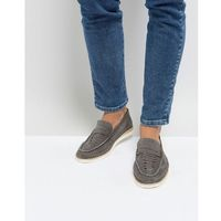Frank Wright Woven Penny Loafers In Grey - Grey