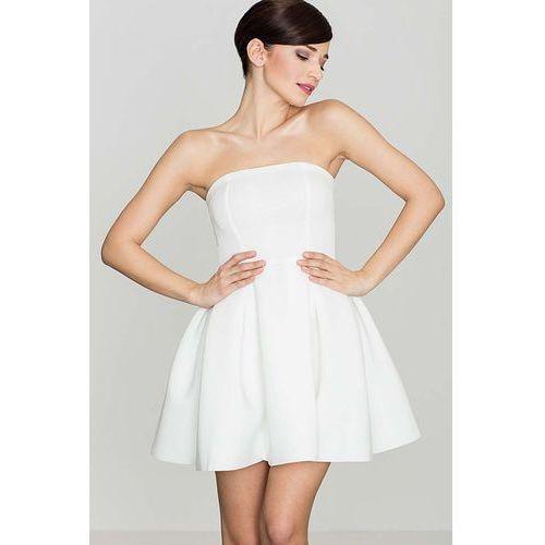 Ecru Wieczorowa sukienka Gorsetowa, kolor beżowy