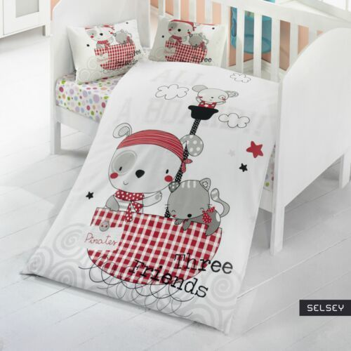SELSEY Dziecięca pościel do łóżeczka Three Friends 100x150 cm z dwiema poszewkami na poduszkę 35x45 cm i z prześcieradłem