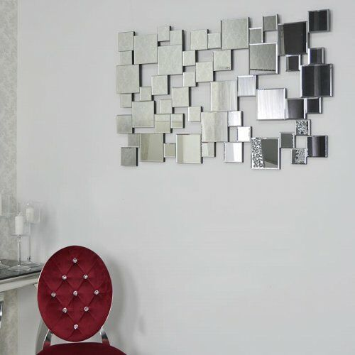 Srebrne lustro glamour prostokątne 73x120 cm m-0515 marki Bellacasa