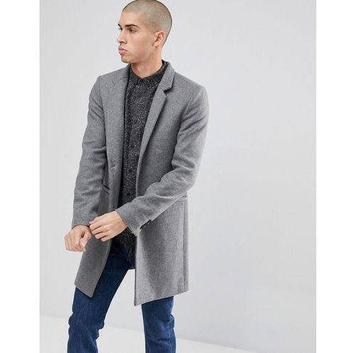 overcoat with stand up collar - grey marki Only & sons