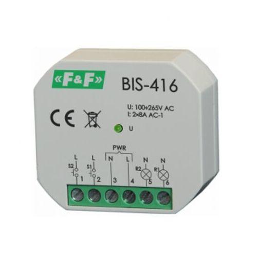 BIS-416 Przekaźnik bistab impuls włącz-wyłącz 2kanał. 265V 2xmax8A 2xNO F&F 8275