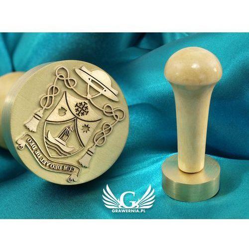 Pieczęć herbowa do odbijania tuszem - średnica 38mm, grawer wypukły około 0,4mm