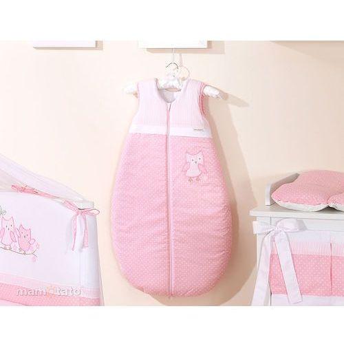 MAMO-TATO Śpiworek do 18 m-ca haftowany Sówki uszatki różowe