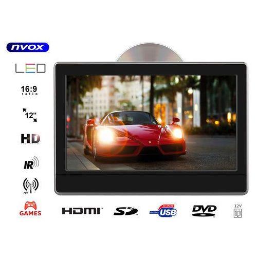"""Monitor samochodowy zagłówkowy led 12"""" hd z hdmi dvd usb sd ir fm gry 12v marki Nvox"""