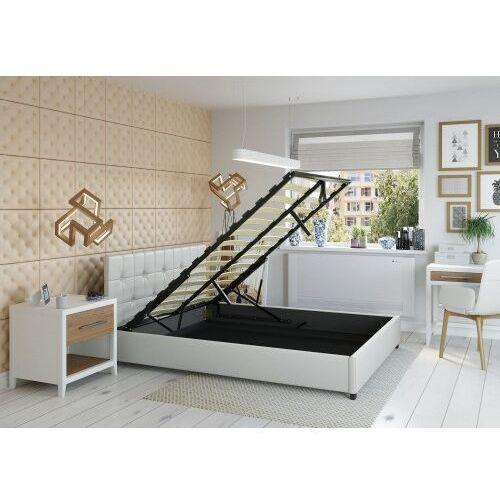 Big meble Łóżko 180x200 tapicerowane modena + pojemnik ekoskóra białe