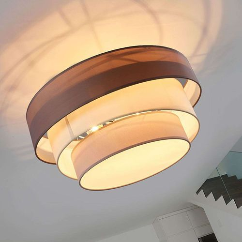 Klasyczna okrągła lampa sufitowa brązowo-szary 56 cm - melia marki Lindby