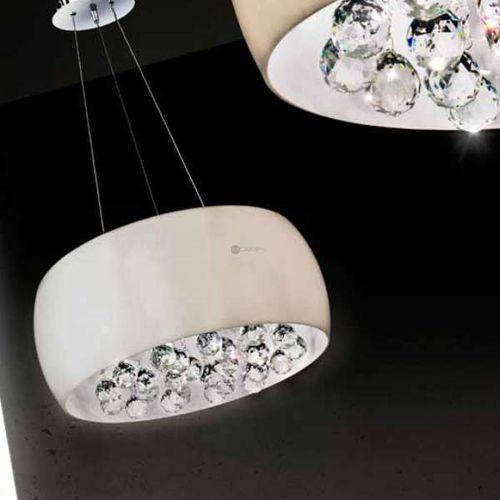 Dekoracyjna lampa wisząca quince lp1056-5 szklana oprawa z kryształkami glamour chrom biała marki Azzardo