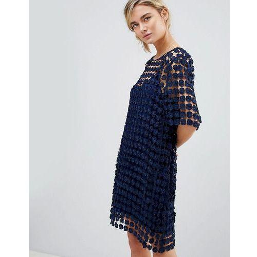 See U Soon Shift Dress in Floral Crochet - Navy