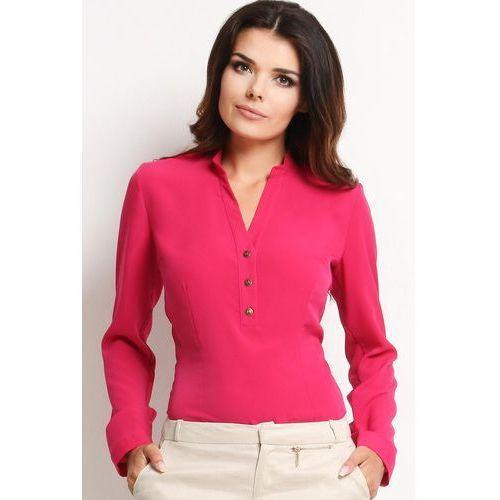 """Awama Różowa elegancka koszulowa bluzka z dekoltem """"v"""" z guziczkami"""
