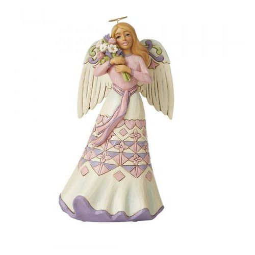 "Jim shore Anioł ""kocham cię mamo"" a bouquet of love for mom - mothers day angel with flowers - 6008794 figurka dewocjonalia"